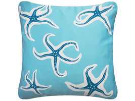 ON SALE Starfish Wabisabi Green Throw Pillow Cover, Blue or Beige, 18 x ... - $24.95