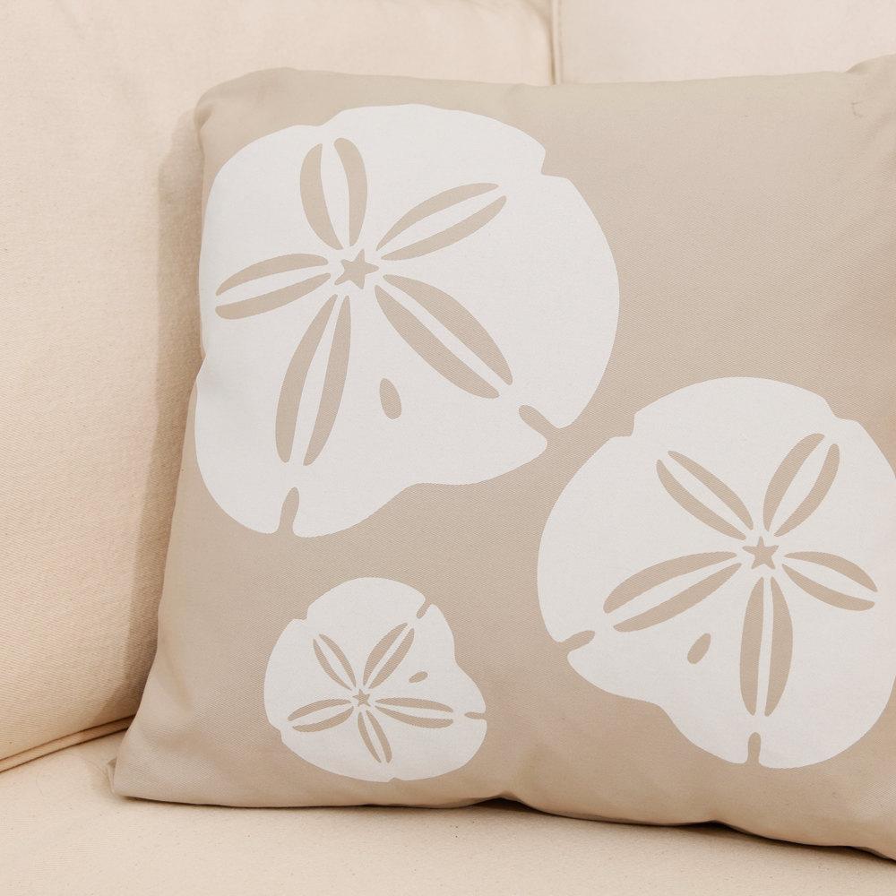 ON SALE Sand Dollar Wabisabi Green Throw Pillow Cover, Beige, Blue, 18 x 18 Inch