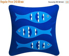 ON SALE Blue Fish Wabisabi Green Throw Pillow Cover, Blue, 18 x 18-Inch - $19.95