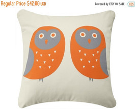 "ON SALE Owl Wabisabi Green Throw Pillow Cover, Orange or Blue on Ivory, 18x18"" - $24.95"