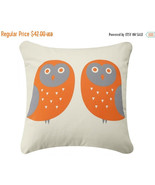 ON SALE Owl Wabisabi Green Throw Pillow Cover, Orange or Blue on Ivory, ... - $24.95