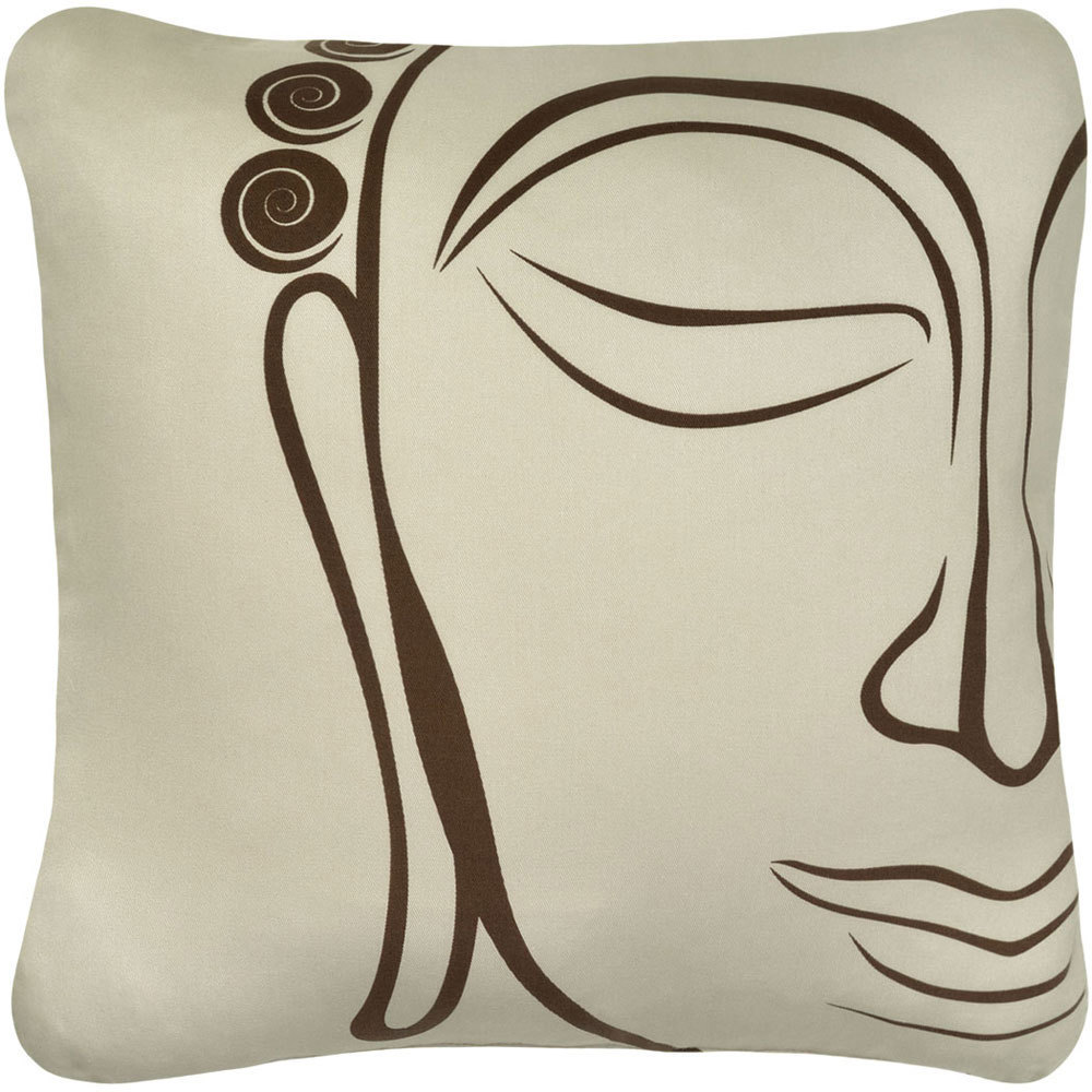ON SALE Buddha Wabisabi Green Throw Pillow Cover, Purple or Beige, 18x18