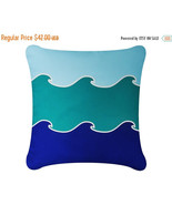 ON SALE Wabisabi Green Ocean Wave Throw Pillow Cover, Blue or Green, 18x... - $24.95