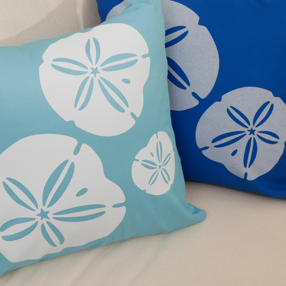 ON SALE Sand Dollar Wabisabi Green Throw Pillow Cover, Beige, Blue, 18 x 18 Inch
