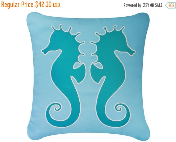 ON SALE Salty Seahorse Wabisabi Green Throw Pillow Cover, Blue or Brown, 18x18""