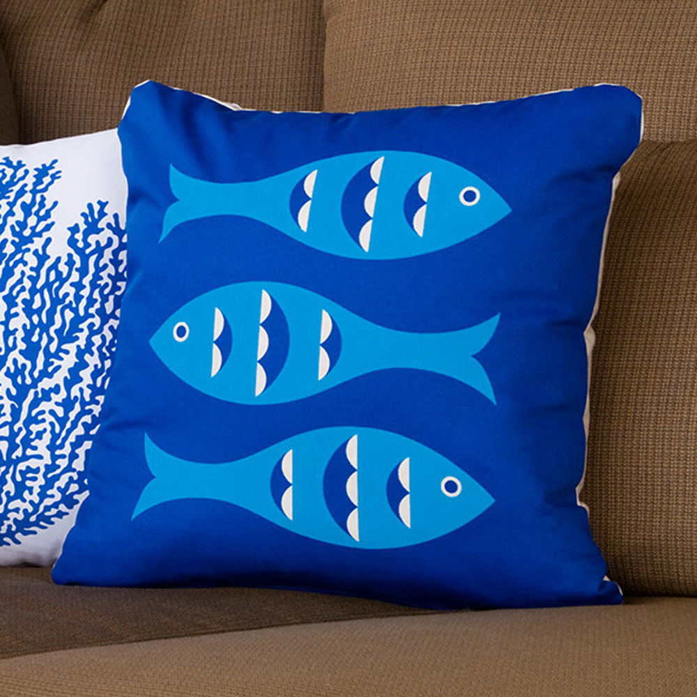 ON SALE Blue Fish Wabisabi Green Throw Pillow Cover, Blue, 18 x 18-Inch