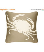 ON SALE Crab Wabisabi Green Throw Pillow Cover, Blue or Brown, 18 x 18-Inch - $24.95