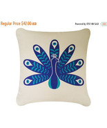 ON SALE Peacock Wabisabi Green Throw Pillow Cover, Bird Print, 18 x 18-Inch - $24.95