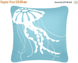 ON SALE Jellyfish Wabisabi Green Throw Pillow Cover, Blue or Brown, 18 x... - $24.95