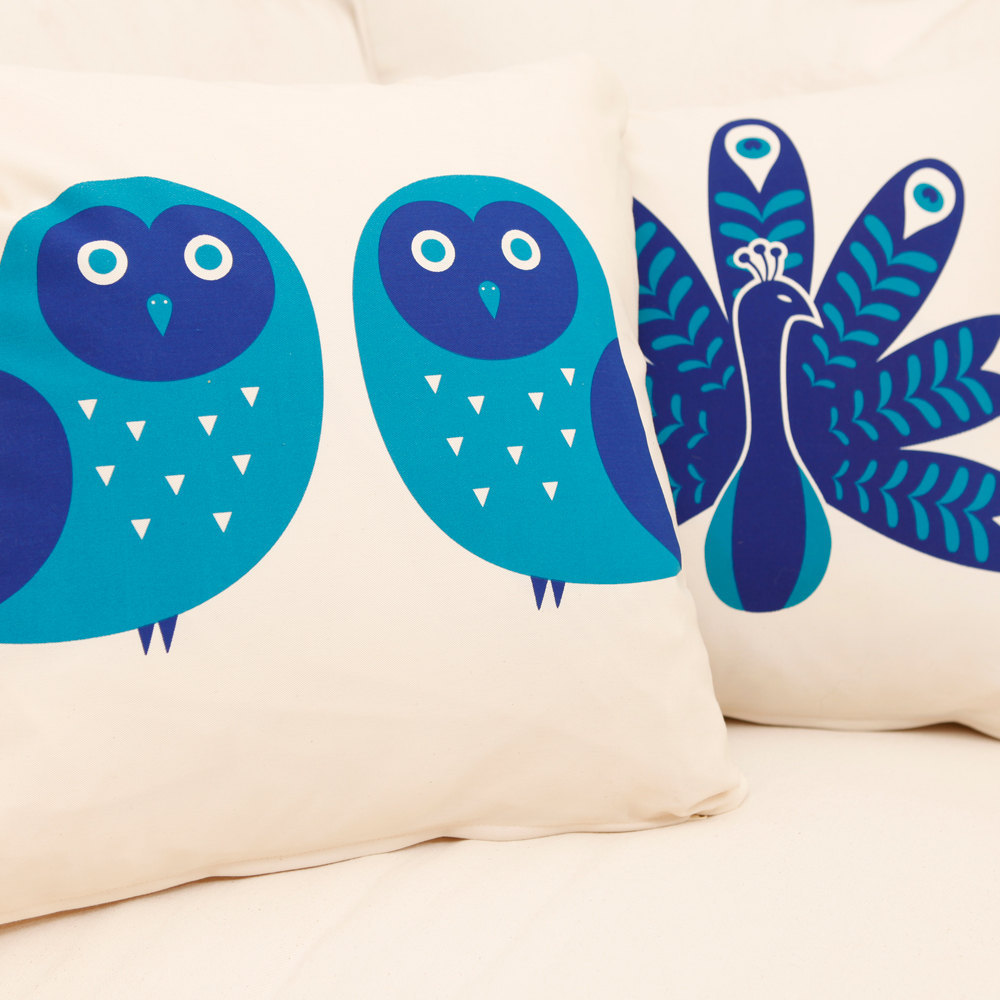 ON SALE Owl Wabisabi Green Throw Pillow Cover, Orange or Blue on Ivory, 18x18""