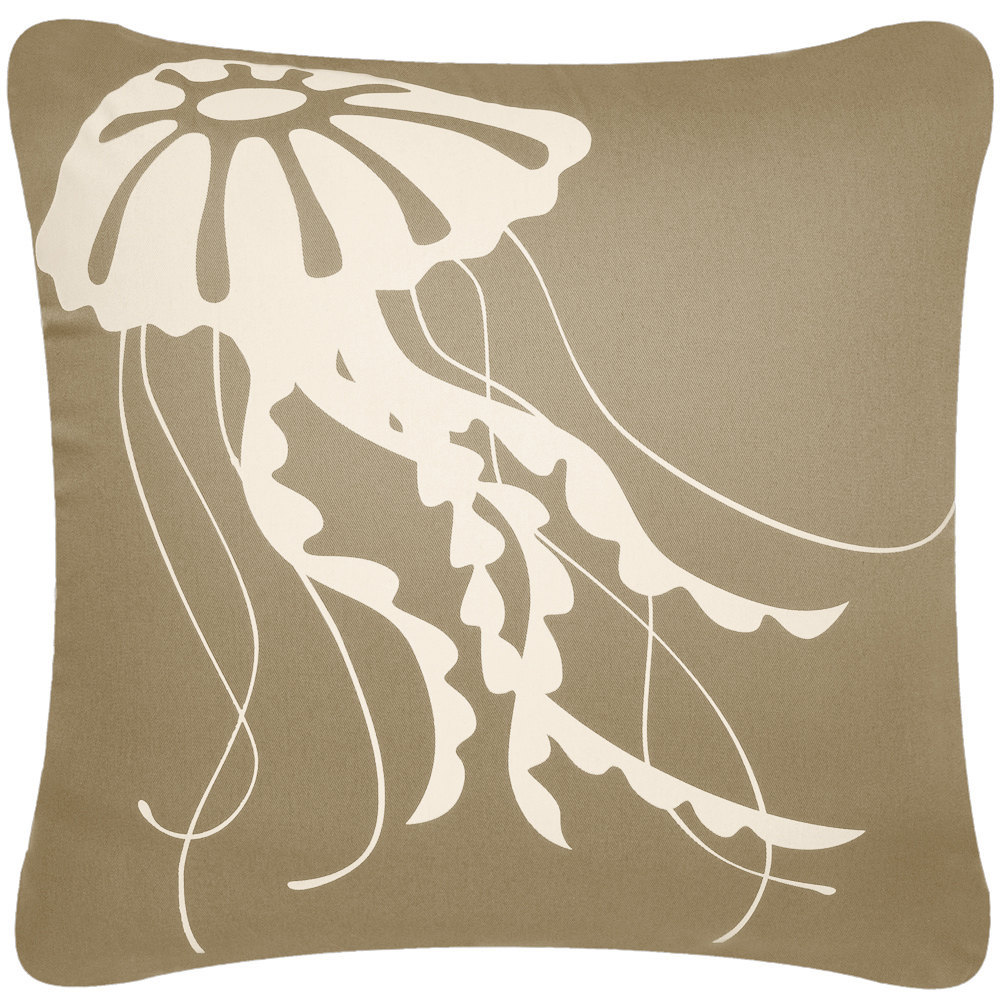 ON SALE Jellyfish Wabisabi Green Throw Pillow Cover, Blue or Brown, 18 x 18-Inch