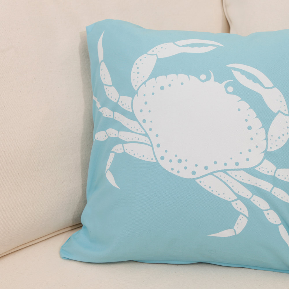 ON SALE Crab Wabisabi Green Throw Pillow Cover, Blue or Brown, 18 x 18-Inch