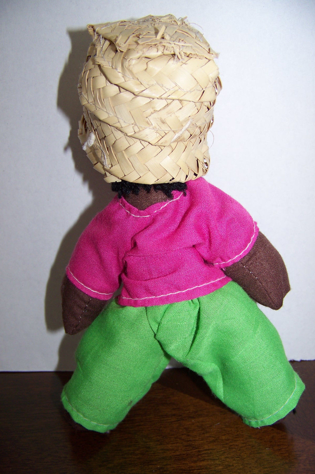 "Vintage Homemade black rag doll 7"""