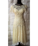 Vintage 1980s HW Collections Lace Antique Retro Cream White Dress Shrt Slv Sz 6 - $44.51