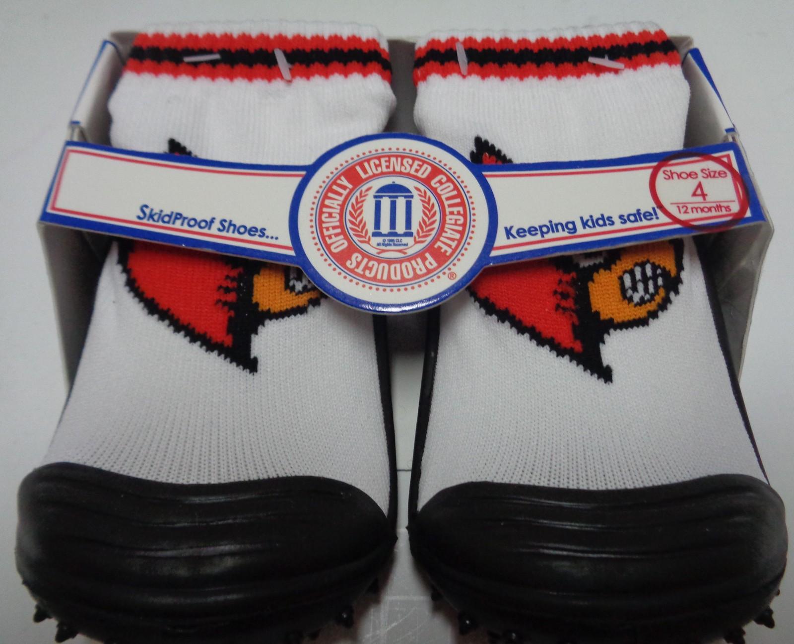 Skidders Toddlers No Skid Shoes Louisville Kentucky Cardinals NWT Sz 4/12 Months