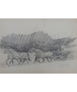 Horses, Horse drawn vehicle, Original Pencil Drawing,  Vintage Framed Ar... - $147.00
