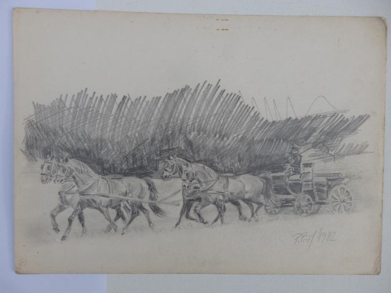 Horses, Horse drawn vehicle, Original Pencil Drawing,  Vintage Framed Art, Art