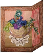 Still Life with Flowers: Quilted Art Wall Hanging - $230.00