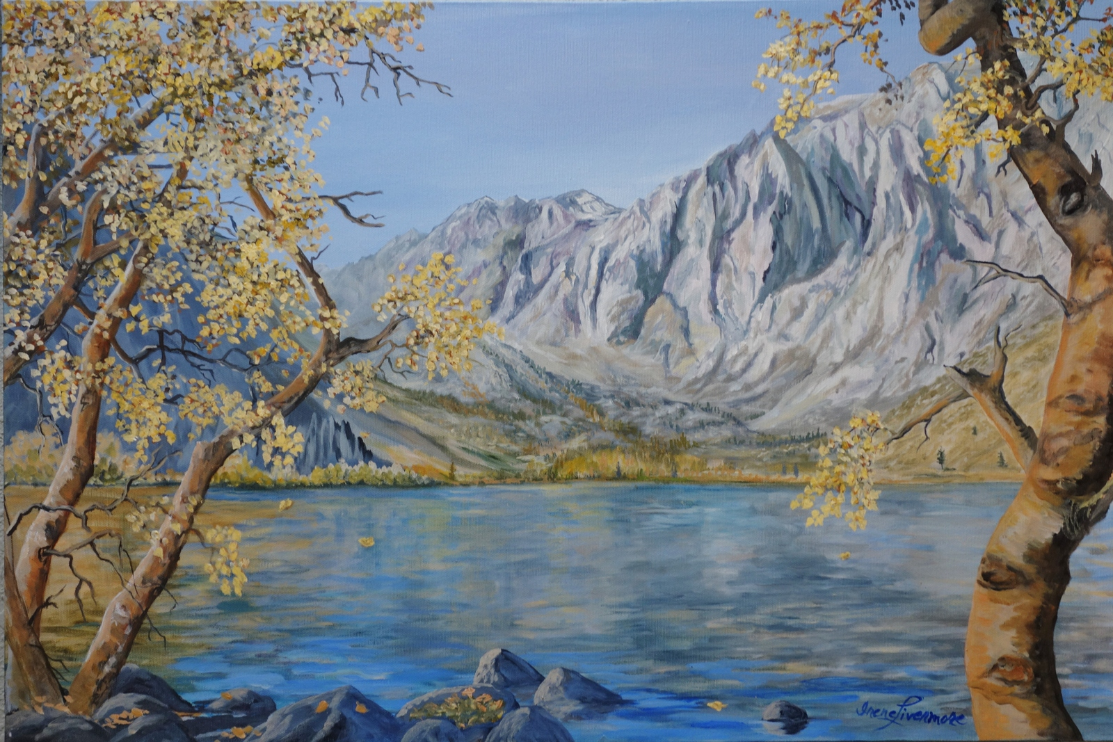 Primary image for Convict Lake Sierra Original Realistic Landscape Oil Painting Stretched Canvas