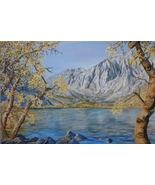 Convict Lake Sierra Original Realistic Landscape Oil Painting Stretched ... - $1,050.00