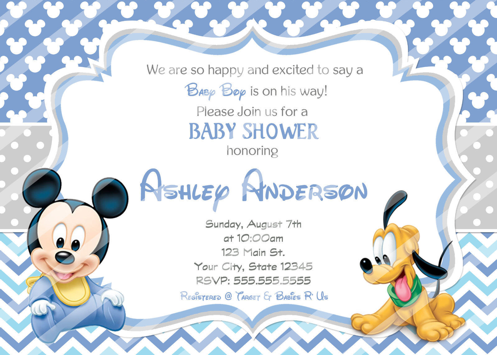 Baby mickey mouse baby shower invitations and 50 similar items s l1600 s l1600 baby mickey mouse baby shower invitations printable invitations chevron free shipping filmwisefo