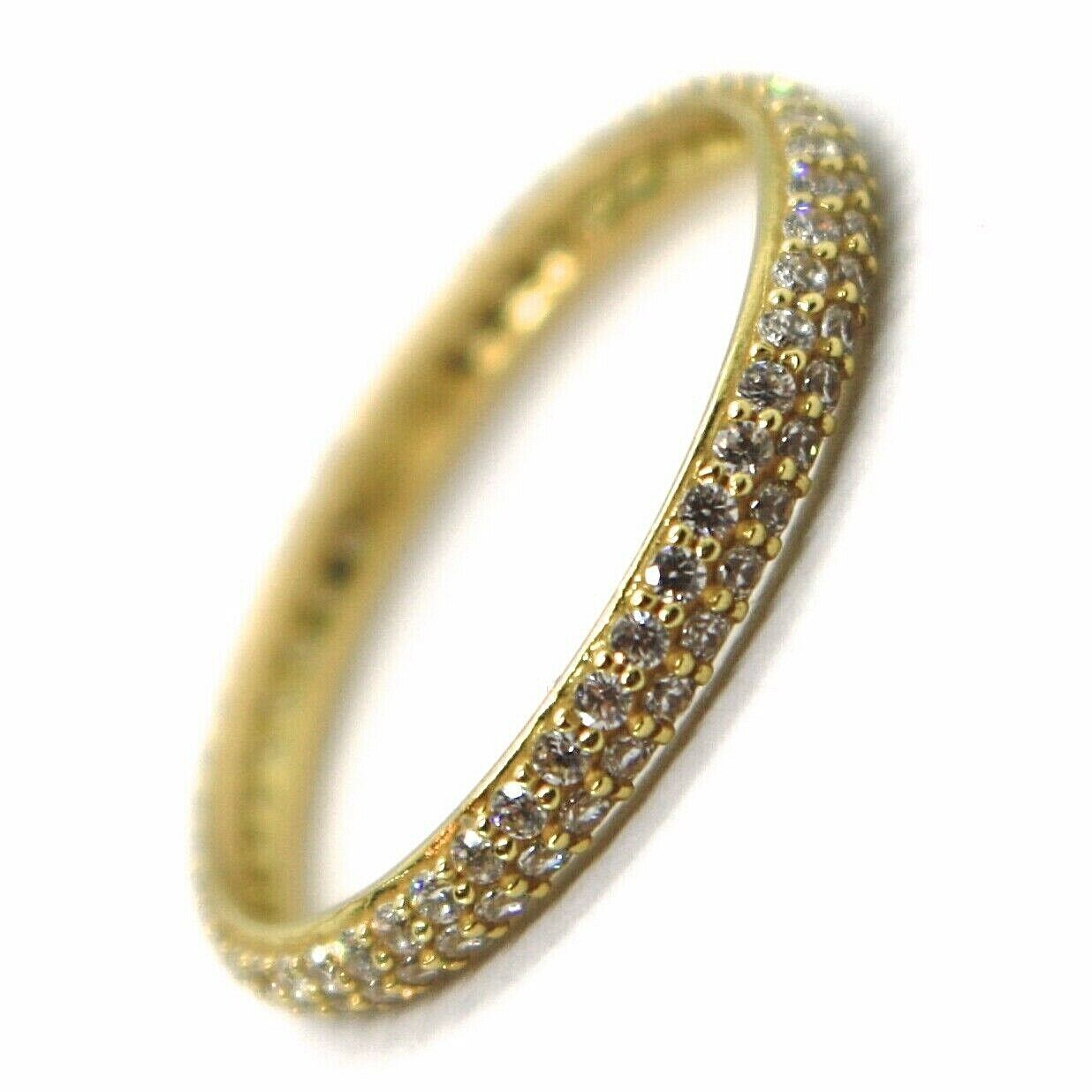 18K YELLOW GOLD ETERNITY BAND RING, DOUBLE CUBIC ZIRCONIA ROW, THICKNESS 2.5 MM