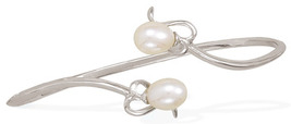 Overlap Design Silver Bangle Bracelet with Pearls - $119.95