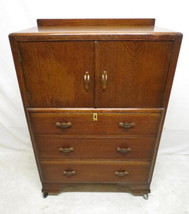Antique Art Deco Tiger Oak Highboy Chest of Drawers Dresser Linen Press ... - $296.95