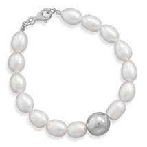 Freshwater Pearl Bracelet with Silver Bead - $59.95