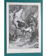 JESUS Carrying Cross Holy Women Hide Weep Faint - 1890s Victorian Era Print - $31.50
