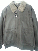 NEW MENS GENUINE LEATHER BOMBER JACKET LARGE L BROWN NWT COVINGTON WITH ... - $93.15