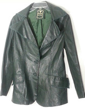 VINTAGE GREEN LEATHER JACKET MEDIUM M 10-12 - $55.74