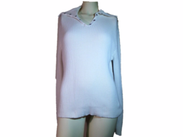Sonoma White Sweater with snaps and convertible collar V neck or Turtle neck - $13.55