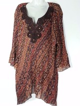 Catherines Embellished Top 2XWP 22 24 Petite Brown Print Plus Size Blous... - $37.19