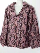 Avenue Paisley Jacket Pink And Brown 26 28 3X New - $46.40