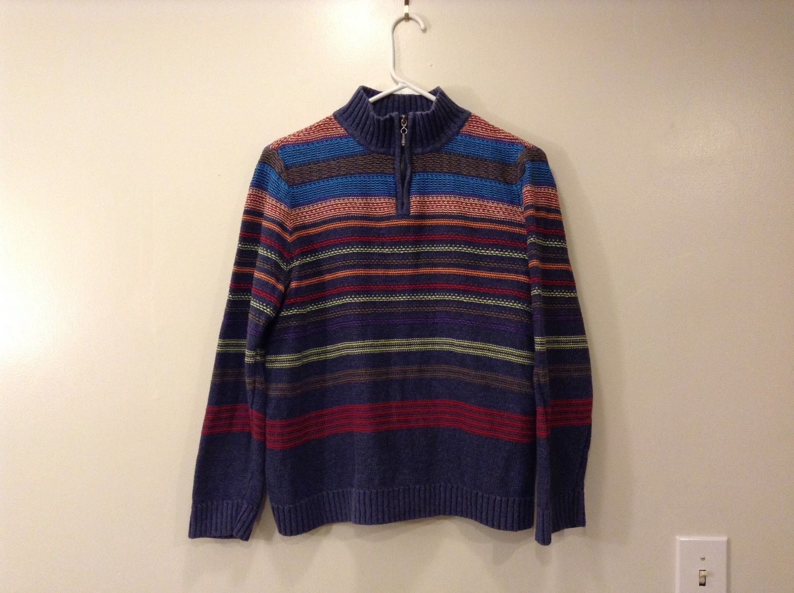Ladies Christopher & Banks blue Striped sweater