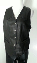 VTG GAP WOMEN'S BLACK LEATHER VEST S 6-8 BIKER MOTORCYCLE - $23.17