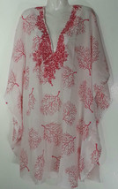 Spiaggia Dolce COVER-UP / Tunic 3X 26-28 Plus Size Top Nwt New Red And White - $37.19