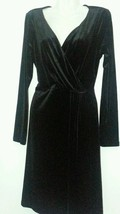 ANNE KLEIN BLACK DRESS LARGE L 14-16 LITTLE BLACK DRESS VELOUR WRAP DRES... - $46.53