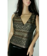 METALLIC PETITE 8 SMALL S GOLD/ BLACK VEST 8 MADE IN USA TOPBLOUSE SHIRT - $25.23