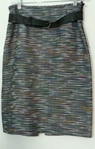 New Tahari A Line Tweed Skirt Belt 2 Xs Nwt $79 Extra Small Boutique Career - $27.72