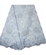 African Swiss Voile Lace Cotton w Rhinestones High Quality Beautiful Blu... - $128.69