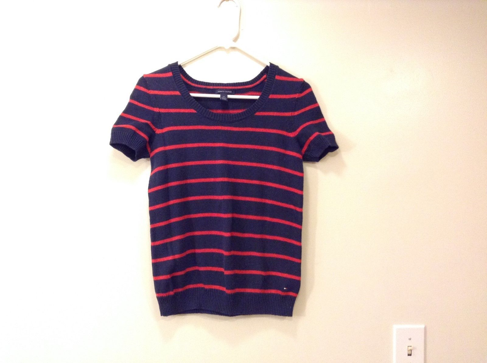 Ladies Tommy Hilfiger Short sleeve striped Knitted Blouse