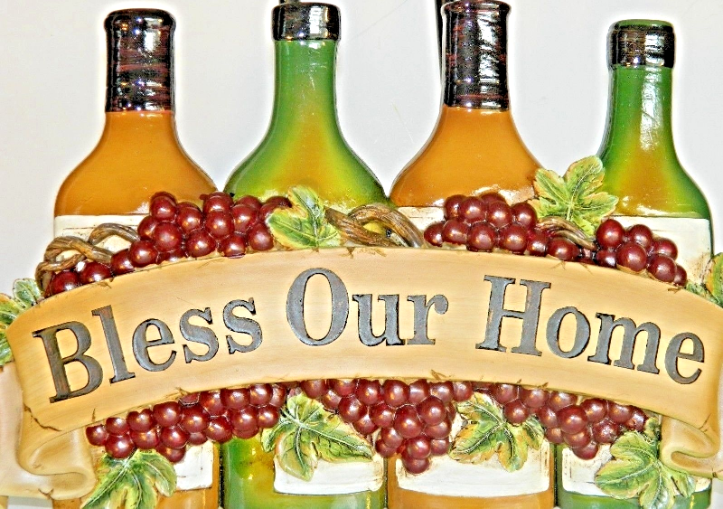Wine Wall Plaque BLESS OUR HOME French Country Bistro Cafe Decor