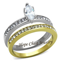 HCJ Stainless Steel Two Tone Marquise Cut CZ Wedding Ring Set Size 9 - $15.99