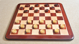 Wooden Checkers / Draught Set in Bud Rose Wood & Box wood - 35mm CH402 - $49.99