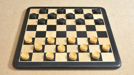 Wooden Checkers/Draught Set in Stained Dyed & Natural Box wood - 35mm CH403 - $49.99
