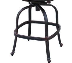 Patio bar stool set of 4 Elizabeth cast aluminum Outdoor swivel Barstools Bronze image 5