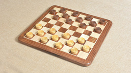 Wooden Checkers / Draught Set in Sheesham & Box wood - 30mm CH404 - $42.99