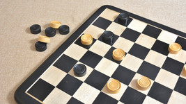 Wooden Checkers / Draught Set in Stained Dyed Natural Box wood - 30mm CH406 - $42.99